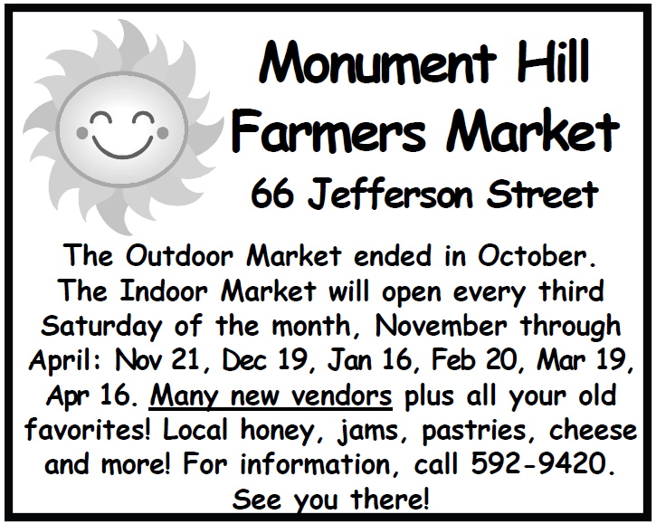correction the ad for the monument hill farmers market which appears in the november 7 2015 issue is incorrect below is the correct ad